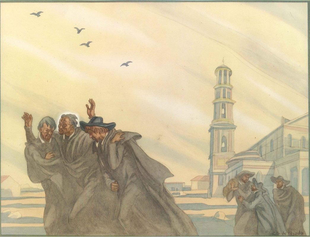 The Life of St. Ignatius Loyola. Plate 9. After their solemn vows at the Basilica of St-Paul-Outside-The-Walls in Rome, the companions set off to help souls with unbounded joy. - Carlos Saenz de Tejada