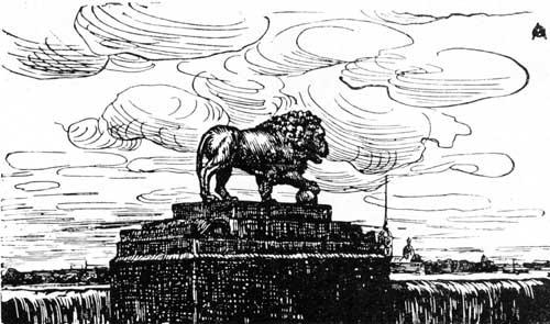 The Lion and the fortress. Woodcut for the magazine 'World'. - Anna Ostroumova-Lebedeva