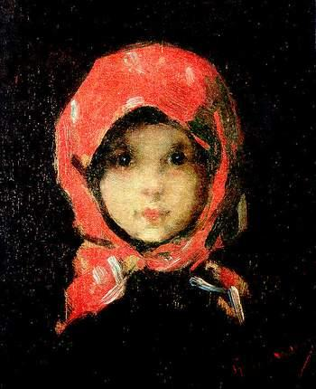 The Little Girl with Red Headscarf - Nicolae Grigorescu