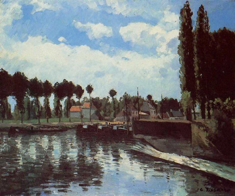 The Lock at Pontoise - Camille Pissarro