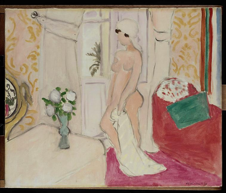 The Maiden and the vase of flowers or pink nude - Henri Matisse