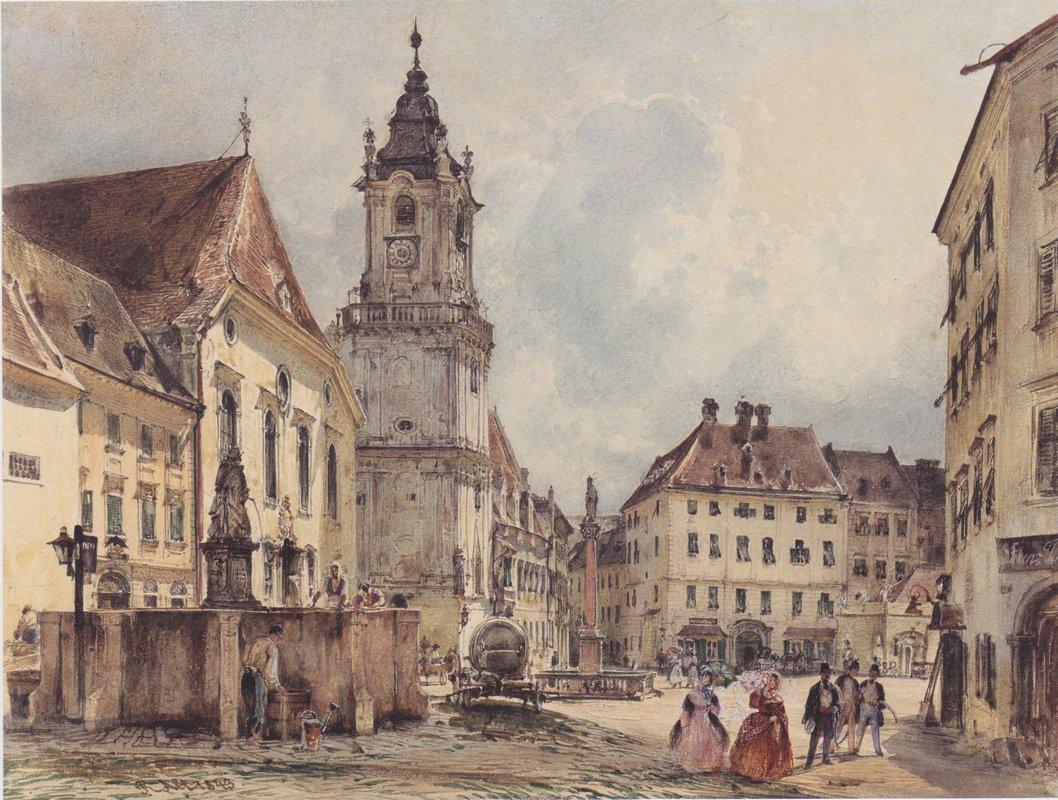 The main square in Bratislava - Rudolf von Alt