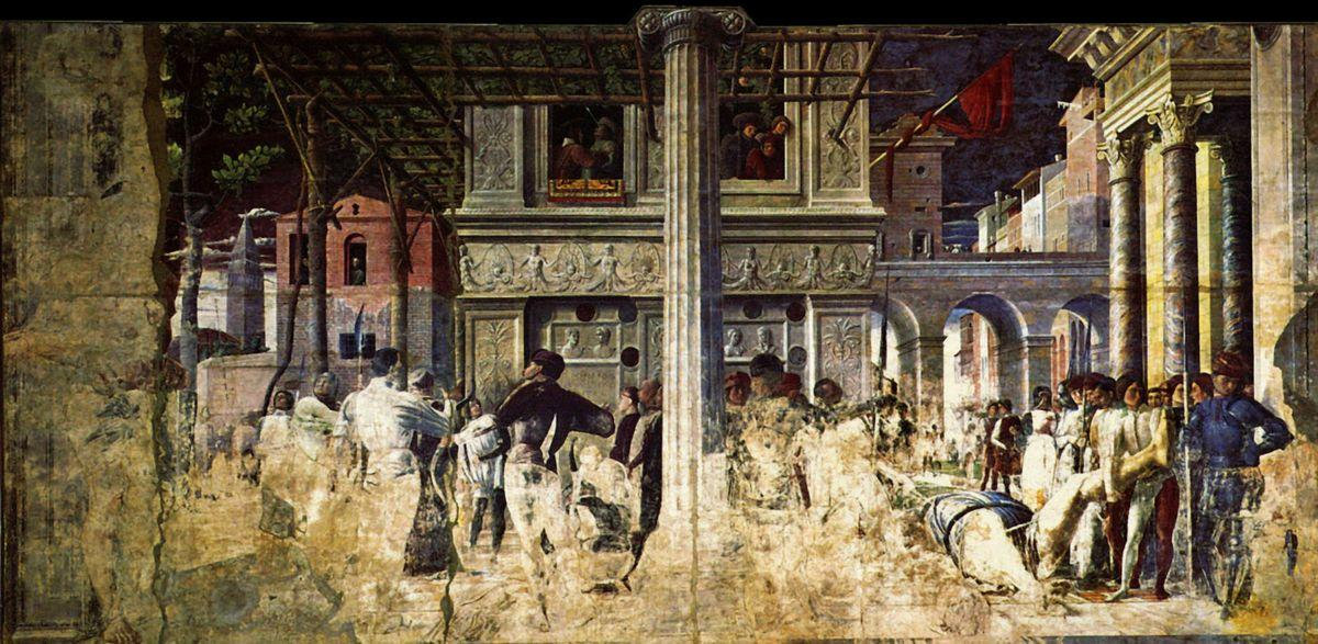 The Martyrdom and transporting the body of Saint Christopher - Andrea Mantegna