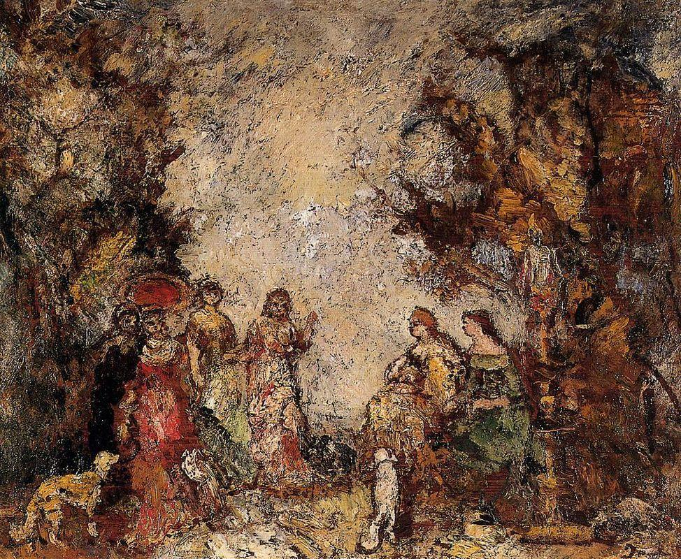 The Meeting of the Elegant Ladies - Adolphe Joseph Thomas Monticelli