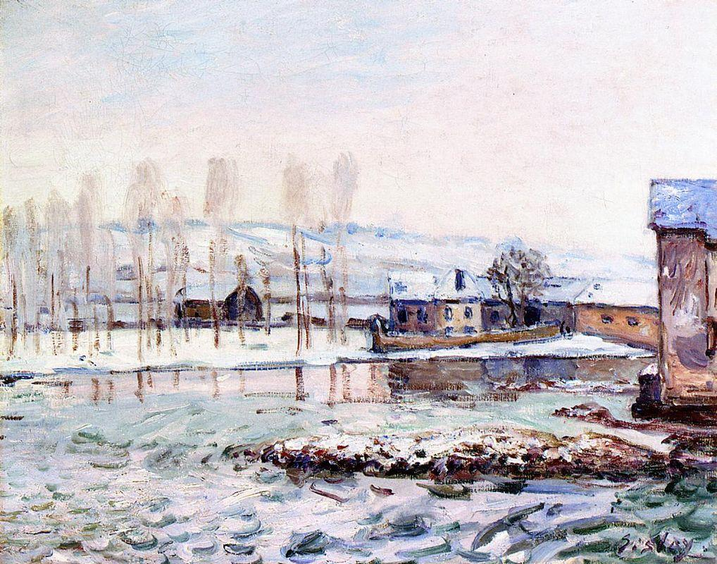 The Mills at Moret - Alfred Sisley