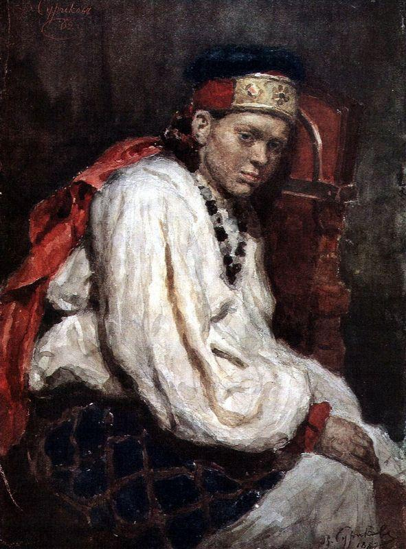 The model in the ancient russian costume - Vasily Surikov
