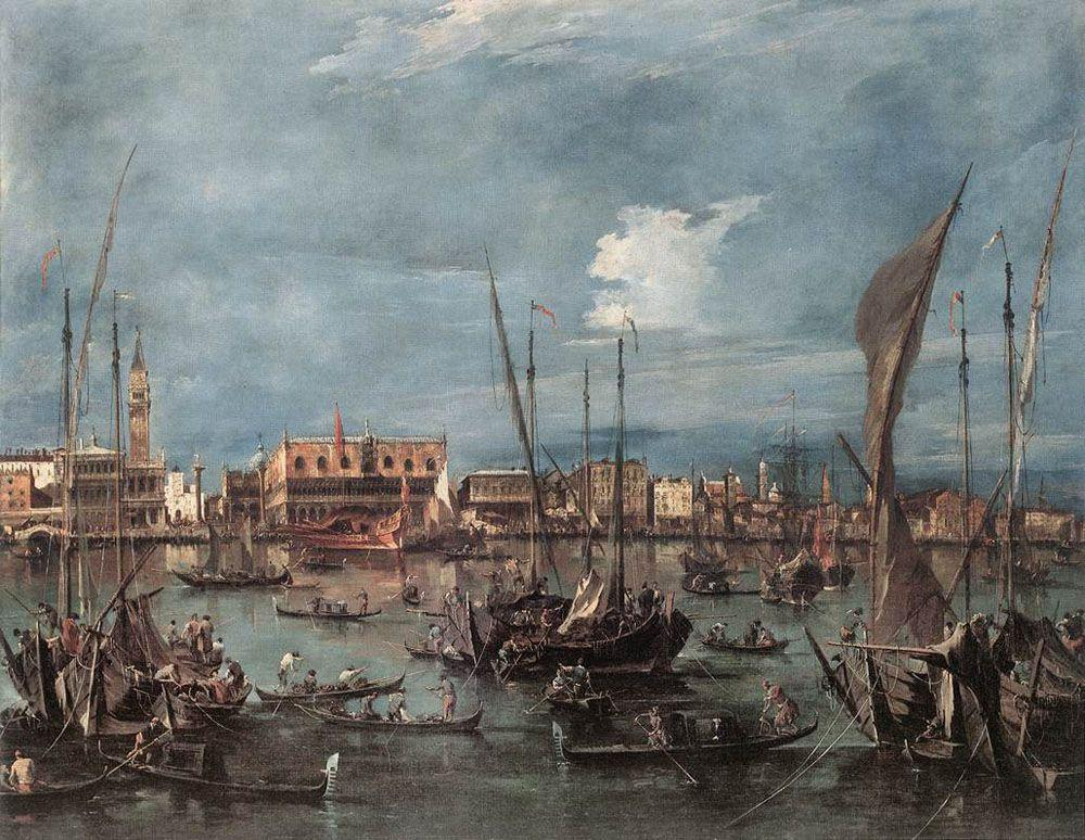 The Molo and the Riva degli Schiavoni from the Bacino di San Marco - Francesco Guardi