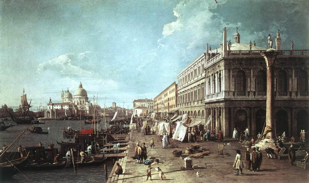 The Molo with the Library and the Entrance to the Grand Canal - Canaletto