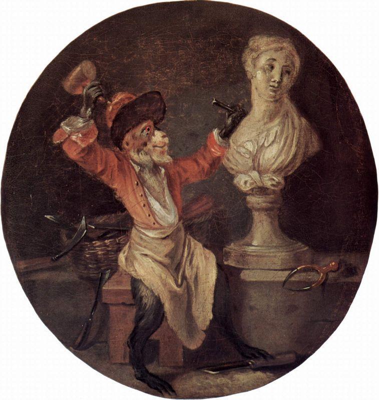 The Monkey Sculptor - Antoine Watteau