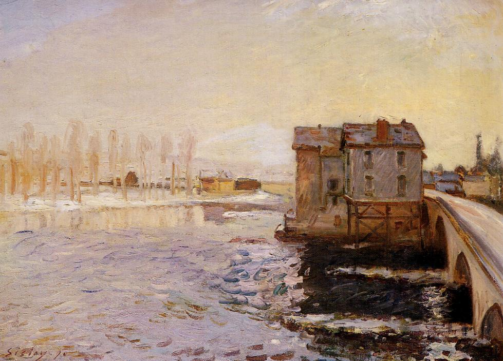 The Moret Bridge and Mills under Snow - Alfred Sisley