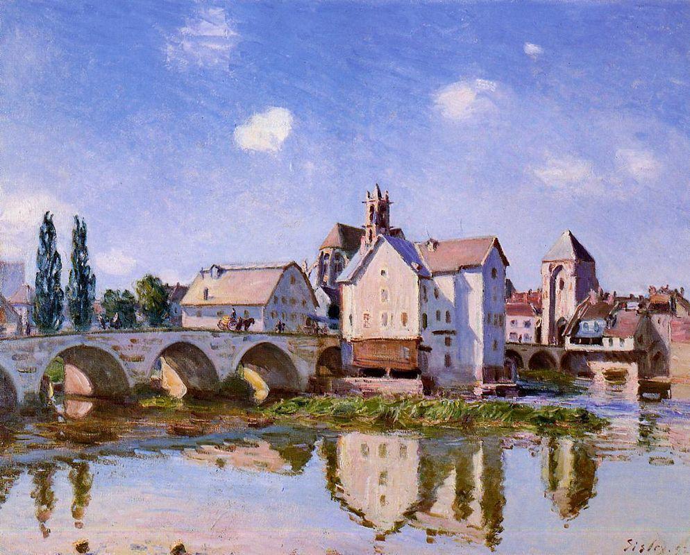 The Moret Bridge in the Sunlight - Alfred Sisley