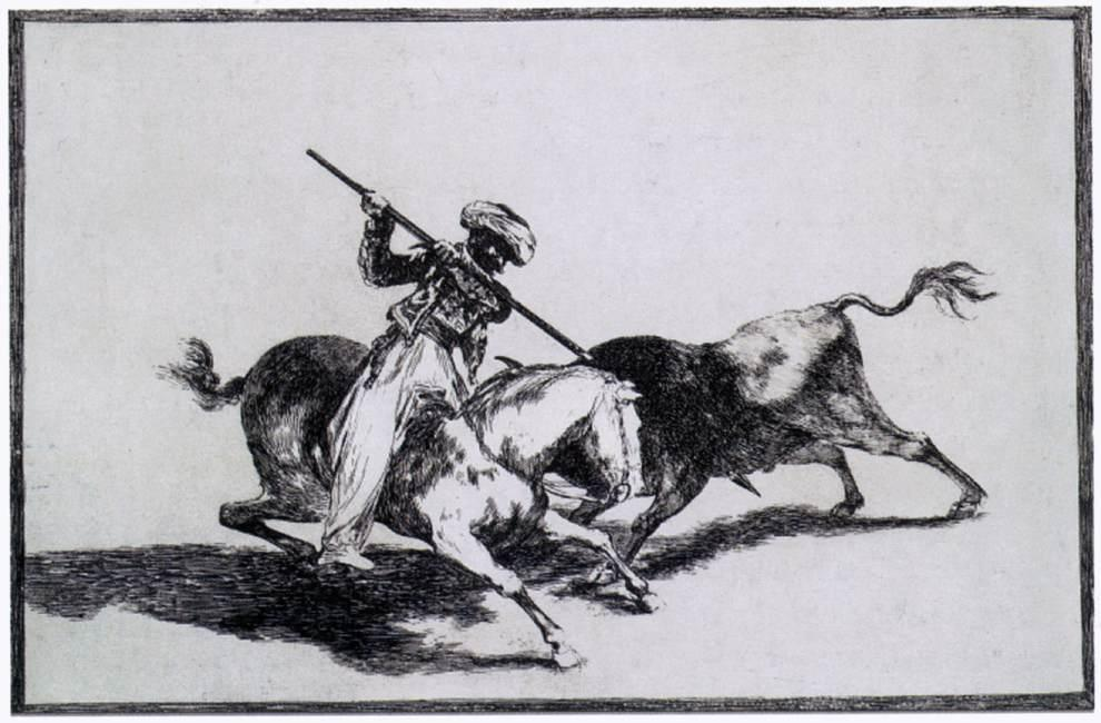 The Morisco Gazul is the First to Fight Bulls with a Lance - Francisco Goya