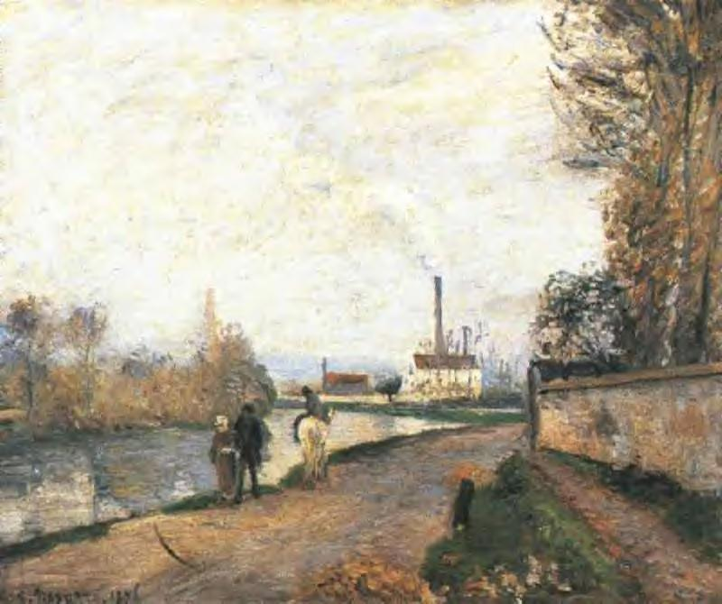 The Oise at Pontoise in Bad Weather - Camille Pissarro