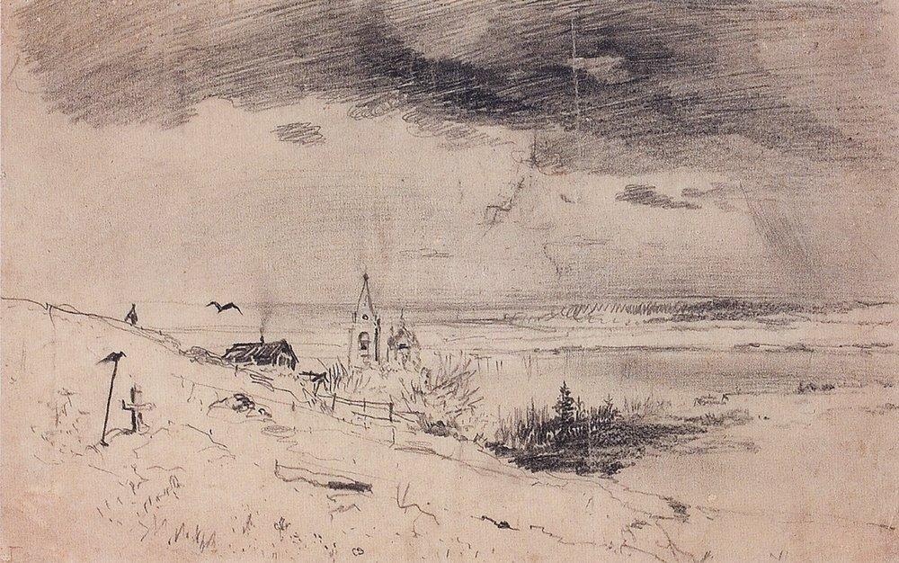 The old churchyard on the banks of the Volga - Aleksey Savrasov