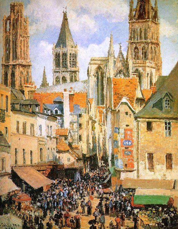 The old market at Rouen - Camille Pissarro