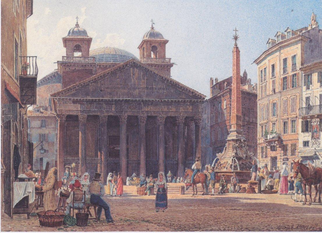 The Pantheon and the Piazza della Rotonda in Rome - Rudolf von Alt