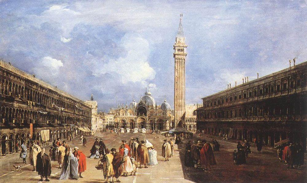 The Piazza San Marco towards the Basilica - Francesco Guardi