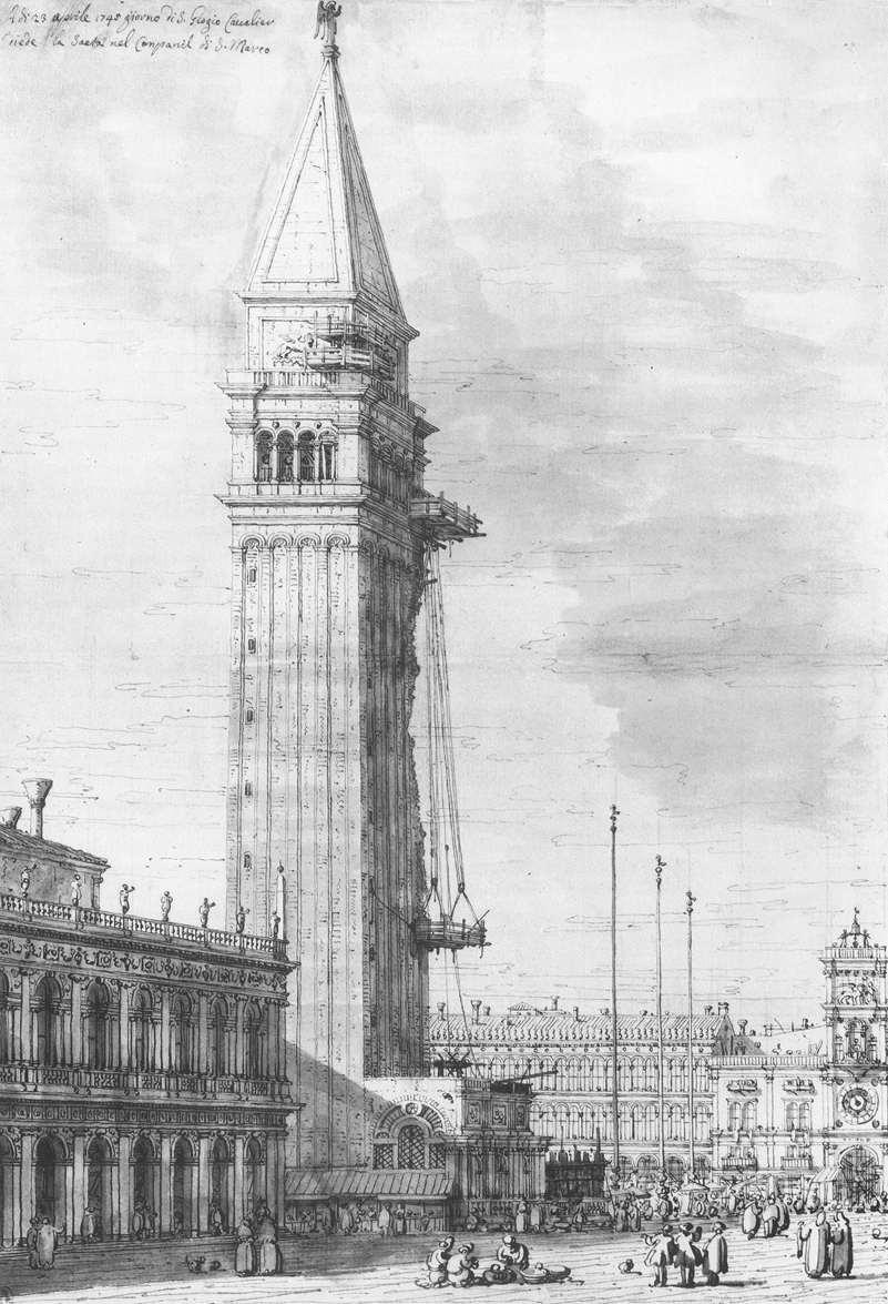 The Piazzetta: Looking North, the Campanile under Repair - Canaletto