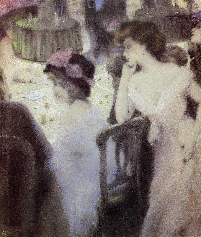 The Players (pastel on paper) - Raphael Kirchner
