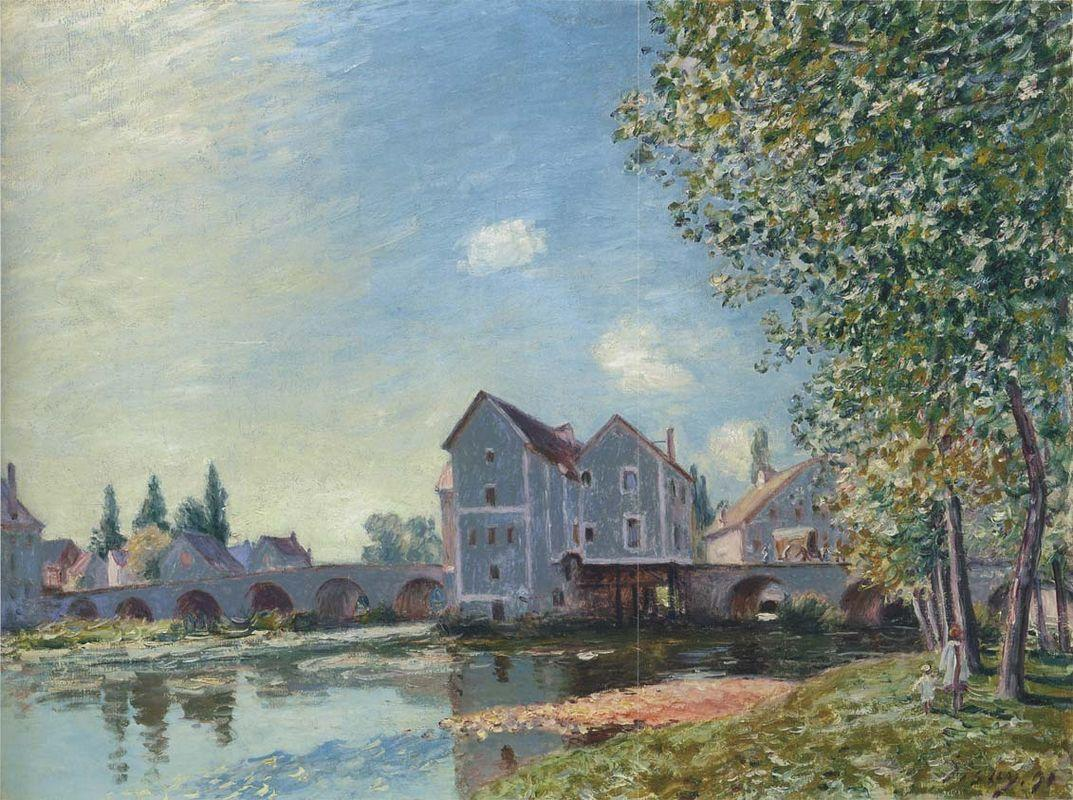 The Pont at Moret Afternoon effect - Alfred Sisley