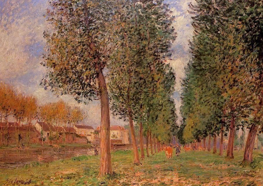 The Poplar Avenue at Moret, Cloudy Day, Morning - Alfred Sisley