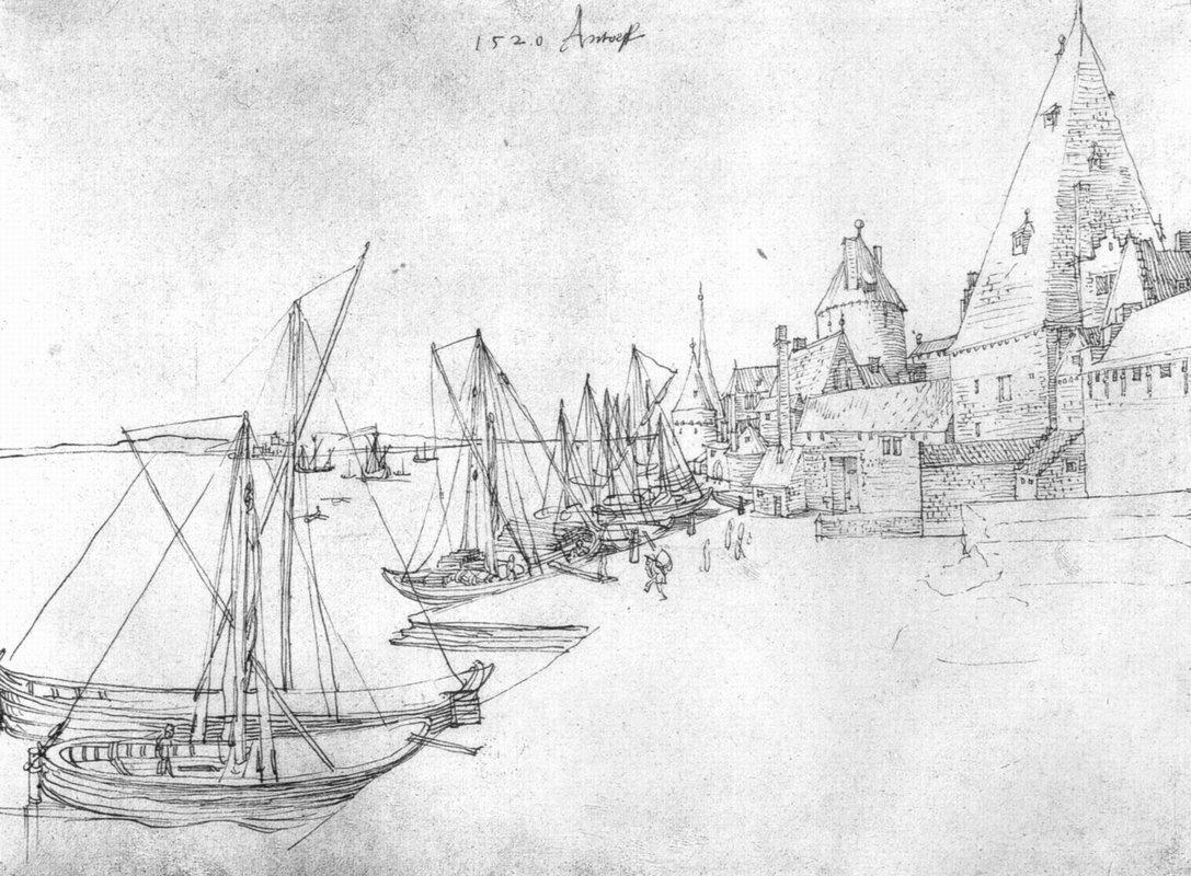 The port of Antwerp during Scheldetor - Albrecht Durer