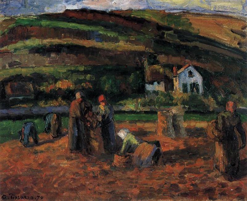 The Potato Harvest - Camille Pissarro