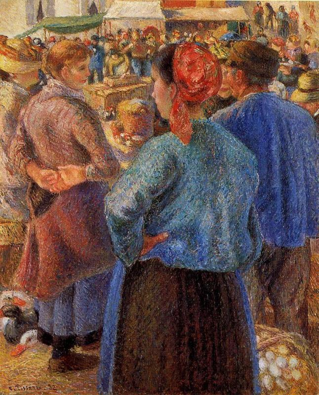 The Poultry Market at Pontoise - Camille Pissarro