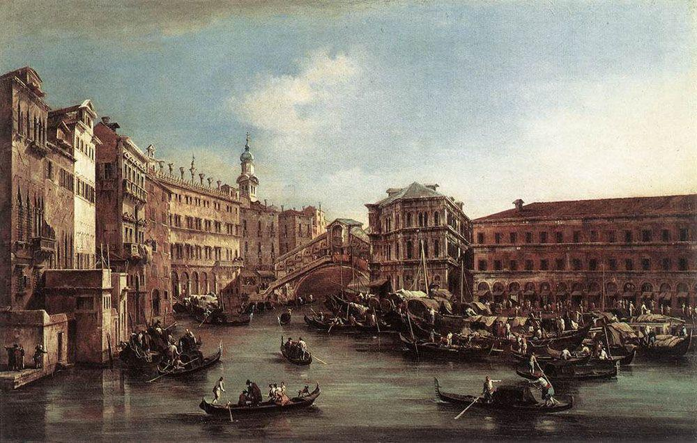 The Rialto Bridge with the Palazzo dei Camerlenghi - Francesco Guardi
