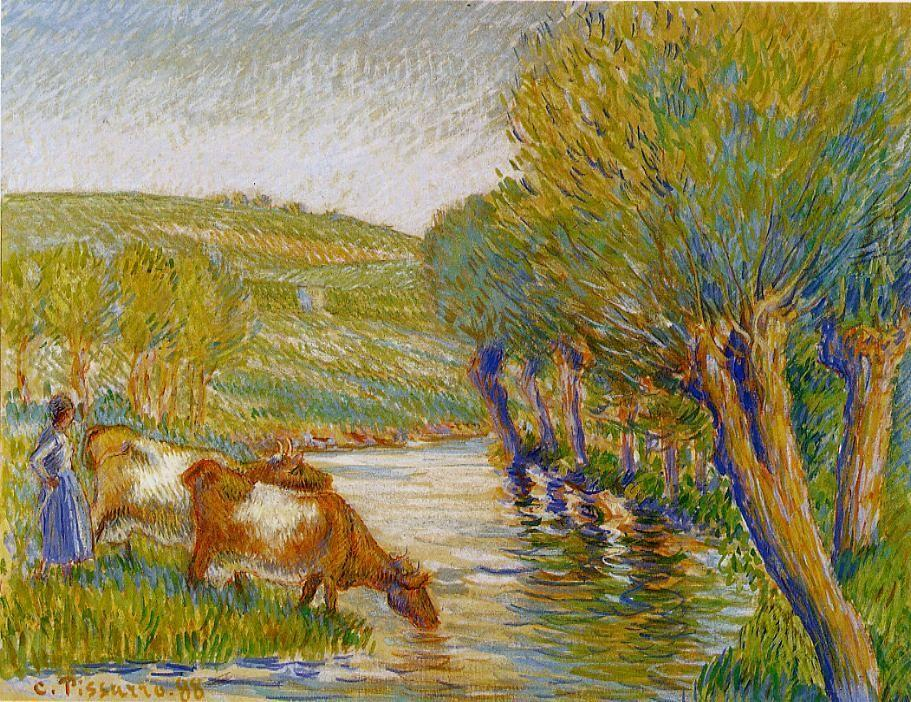 The river and willows, Eragny - Camille Pissarro