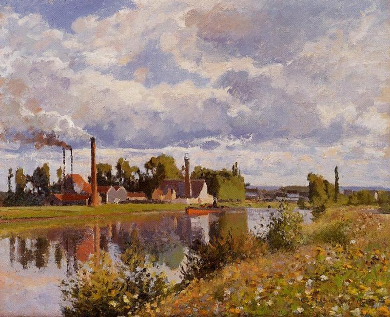 The River Oise near Pontoise - Camille Pissarro