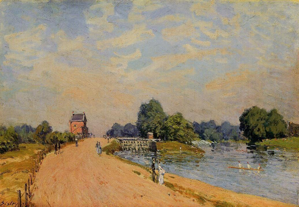 The Road from Hampton Court - Alfred Sisley