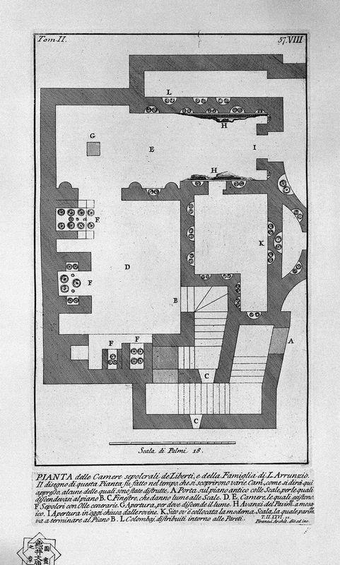 The Roman antiquities, t. 2, Plate VIII. Entry of the burial chamber of L. Liberti and Family Arrunzio. - Giovanni Battista Piranesi