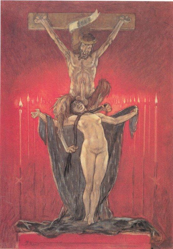 The Satanic. Calvary - Felicien Rops