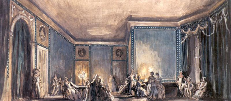 The scene of the ball. Set Design for Tchaikovsky's opera