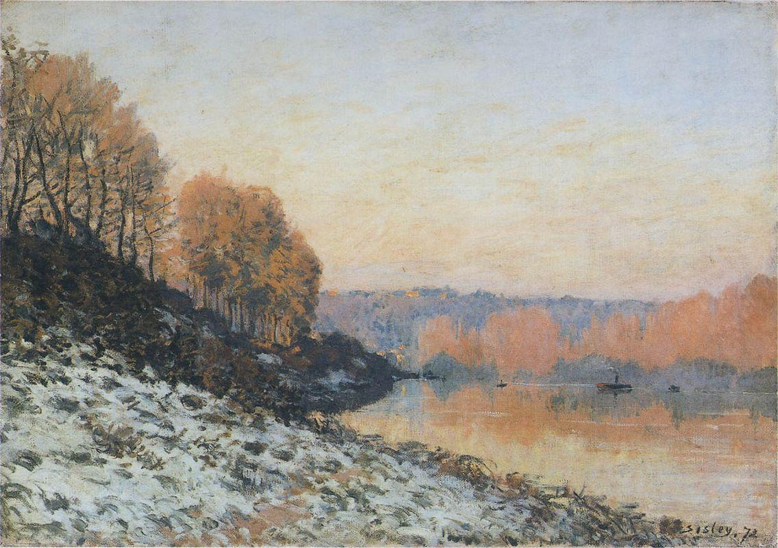 The Seine at Bougival in Winter - Alfred Sisley