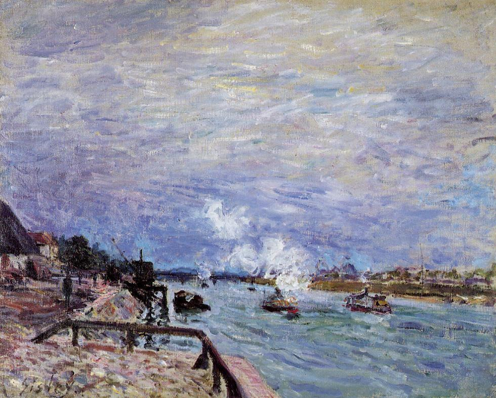 The Seine at Grenelle Rainy Wether - Alfred Sisley