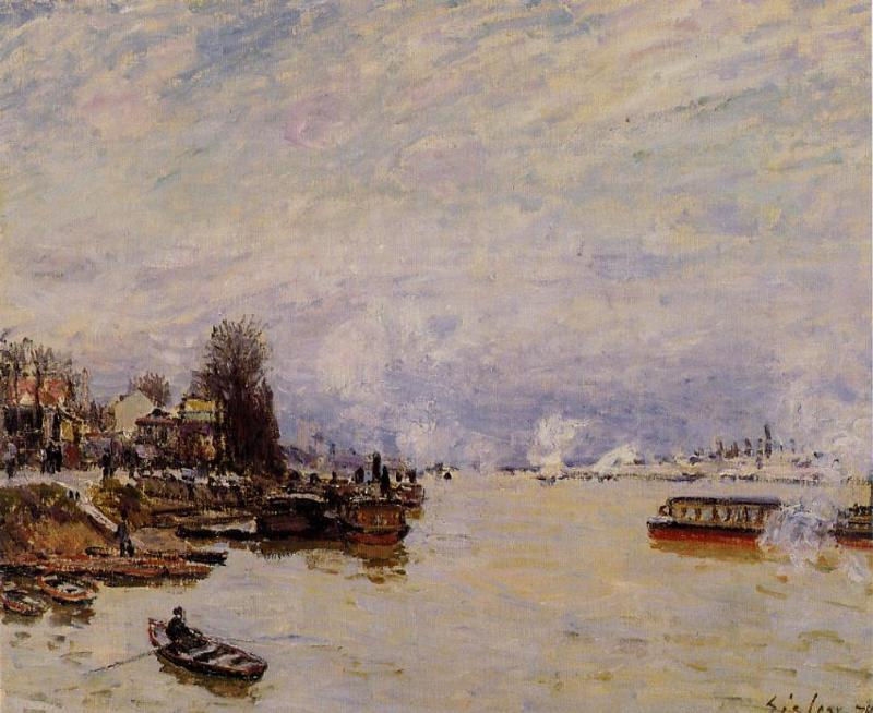 The Seine, View from the Quay de Pont du Jour - Alfred Sisley