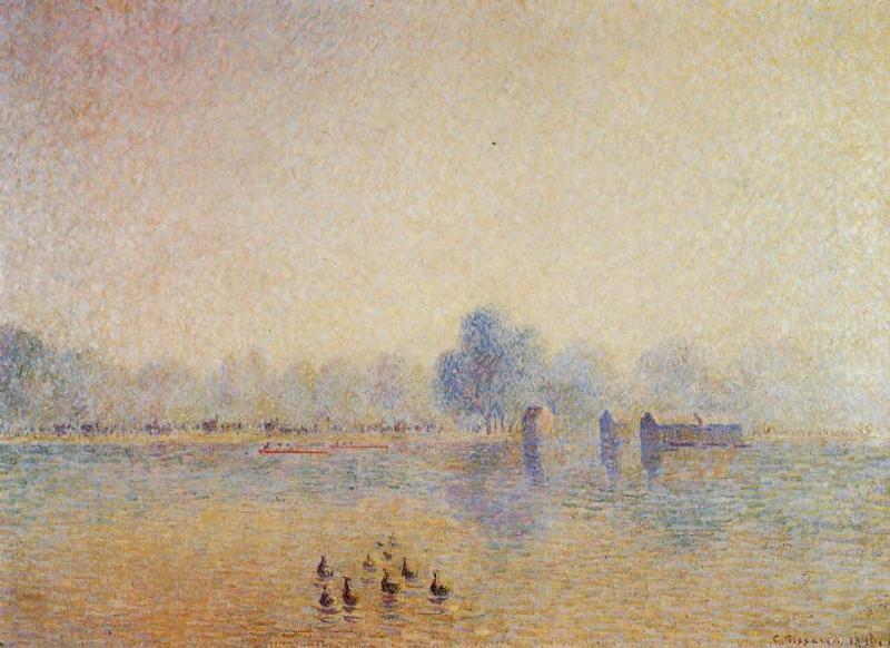 The Serpentine, Hyde Park, Fog Effect - Camille Pissarro