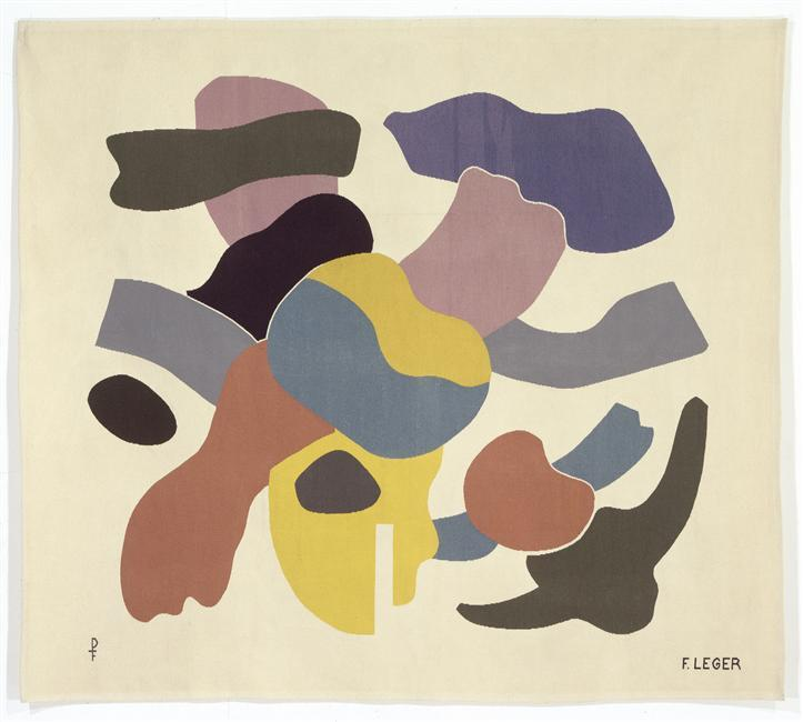 The shapes on white background (on a blue background in the gift) - Fernand Leger