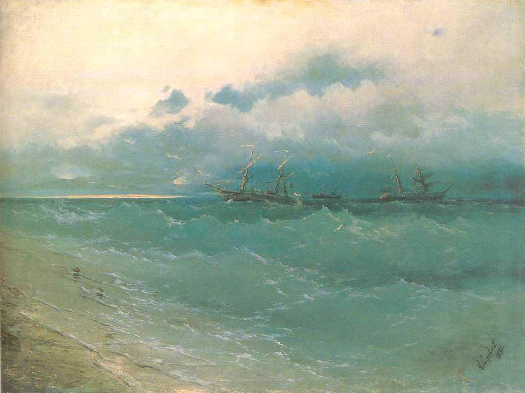 The ships on rough sea, sunrise - Ivan Aivazovsky