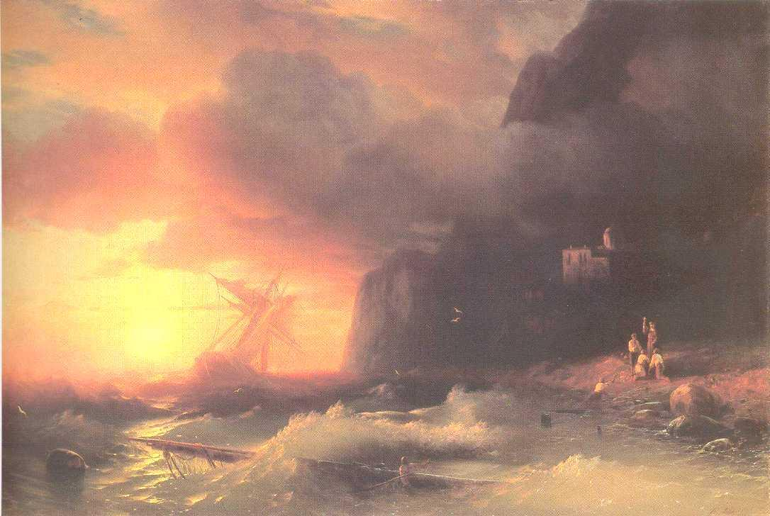 The Shipwreck near mountain of Aphon - Ivan Aivazovsky