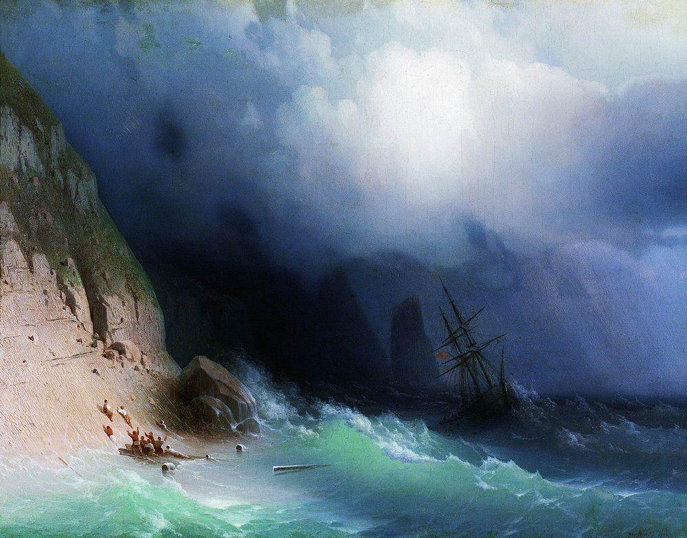 The Shipwreck near rocks - Ivan Aivazovsky
