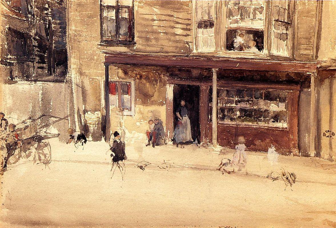 The Shop - An Exterior - James McNeill Whistler