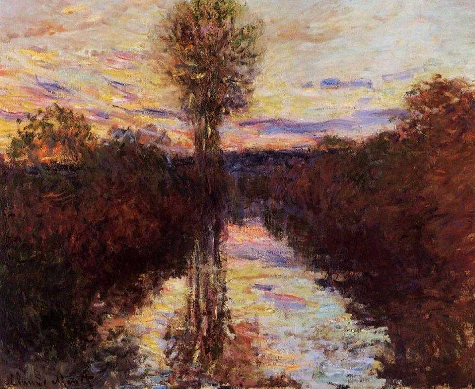 The Small Arm of the Seine at Mosseaux, Evening - Claude Monet