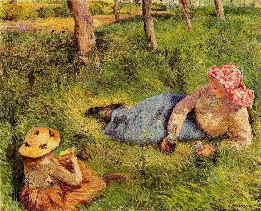 The Snack, Child and Young peasant at Rest - Camille Pissarro