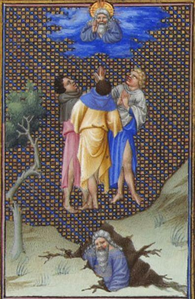 The Sons of Core Thank God for Their  Salvation - Limbourg brothers