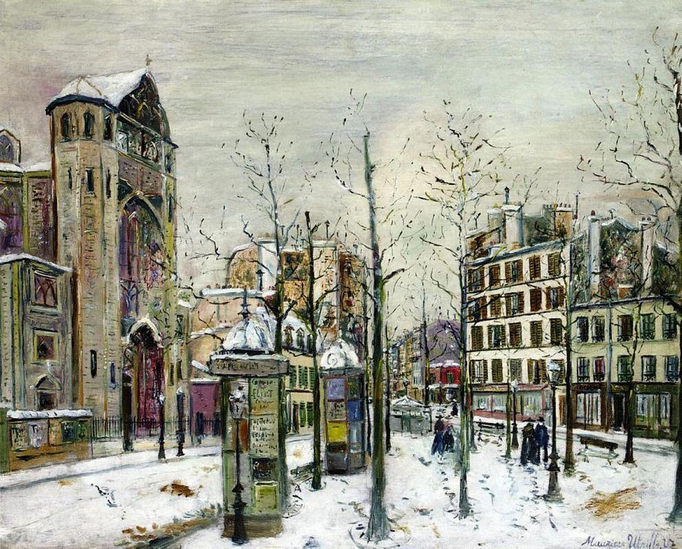The squre Abbesses in the Snow - Maurice Utrillo