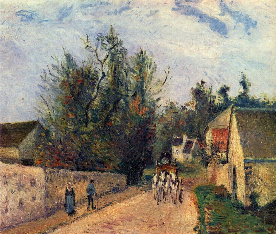The Stage on the Road from Ennery to l'Hermigate, Pontoise - Camille Pissarro