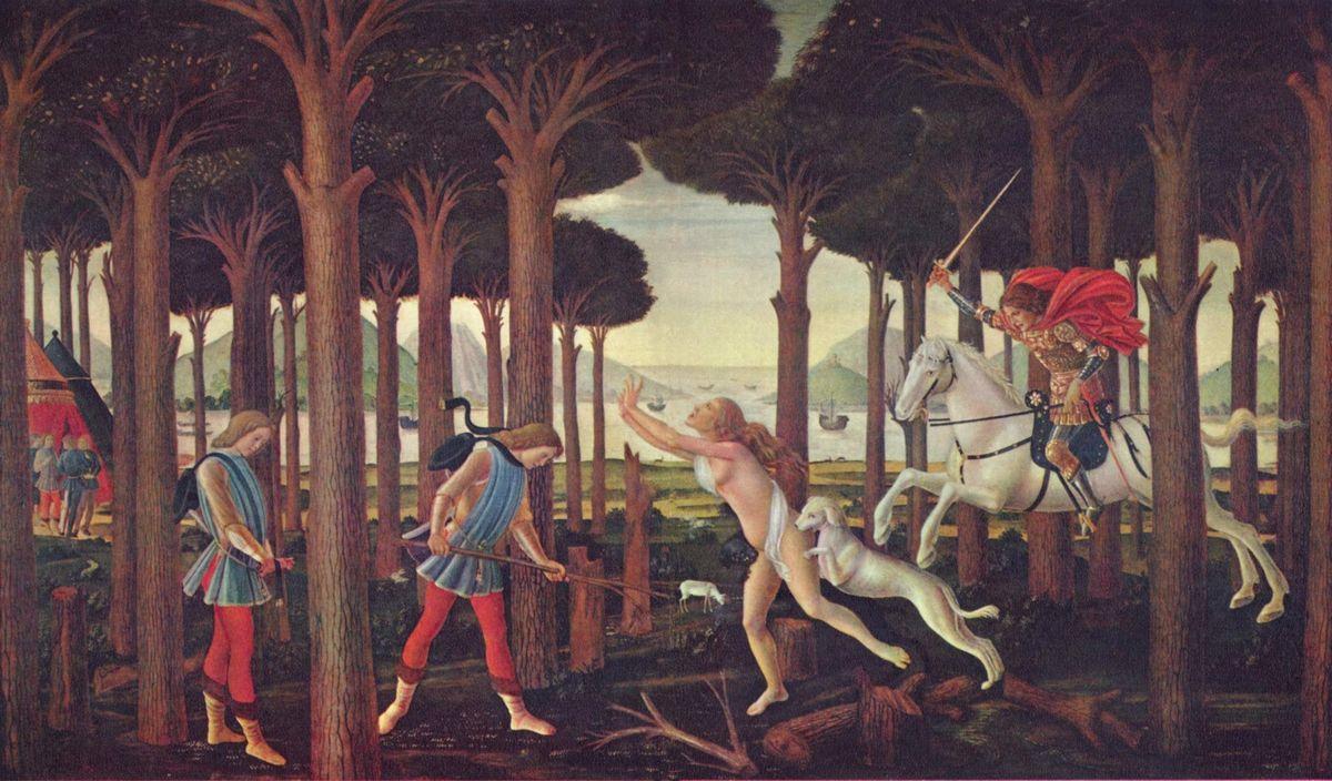 The Story of Nastagio degli Onesti (I), from The Decameron, by Boccaccio - Sandro Botticelli